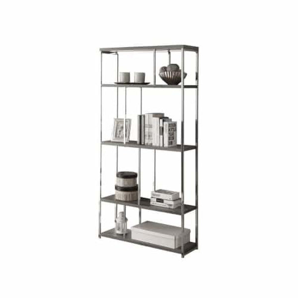 Dark Taupe Chrome Metal 72 Inch Tall Bookcase Shelving Unit - Office Storage & Organization