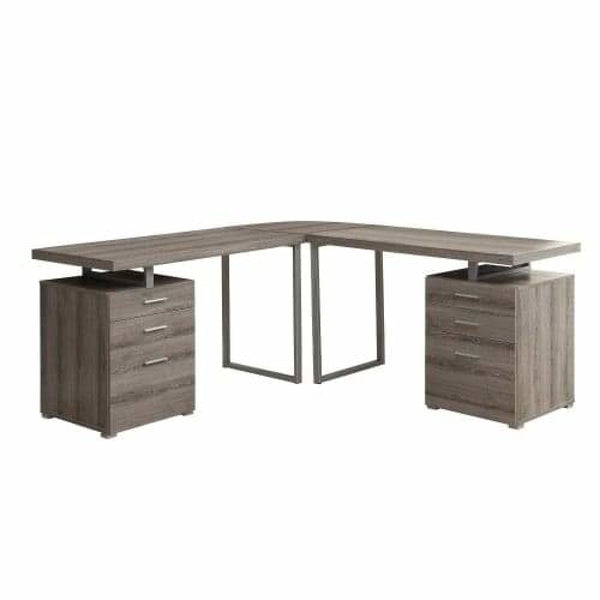 Dark Taupe L Shaped Corner Desk Three Piece Particle Board Computer Desk Set - Desks & Computer Tables