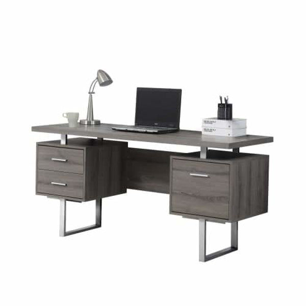 Dark Taupe / Silver Metal 60 Inch Wide Particle Board Computer Desk - Desks & Computer Tables