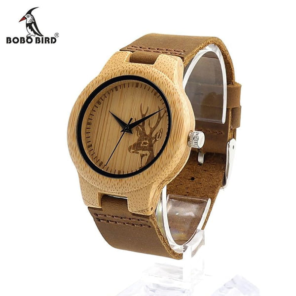 Deer Head Design Mens/Womens Size Bamboo Wooden Watch - Watches
