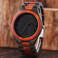 Full Wooden Analog Nature Bamboo Quartz Mens Wristwatch - Watches