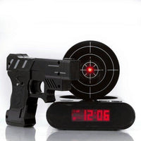 Gadget Target Laser Shooting Gun Alarm Clock Digital - Black - Alarm Clocks