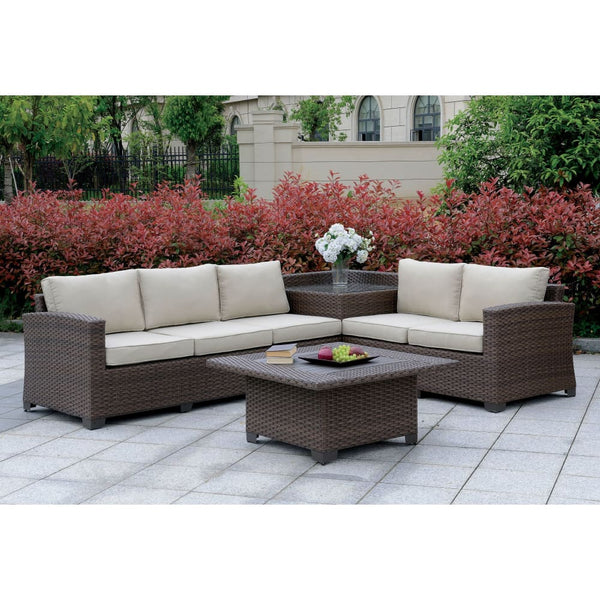 Gavalli Contemporary Style Outdoor Patio Set with Corner Table - Outdoor Patio Furniture