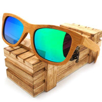 Handmade 100% Natural Bamboo Wooden Sunglasses Polarized Mirror Coating Lenses Eyewear With Gift Box - Blue / Natural Wood - Sunglasses
