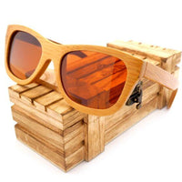 Handmade 100% Natural Bamboo Wooden Sunglasses Polarized Mirror Coating Lenses Eyewear With Gift Box - Brown / Natural Wood - Sunglasses