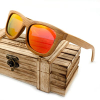 Handmade 100% Natural Bamboo Wooden Sunglasses Polarized Mirror Coating Lenses Eyewear With Gift Box - Sunglasses
