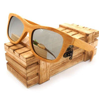 Handmade 100% Natural Bamboo Wooden Sunglasses Polarized Mirror Coating Lenses Eyewear With Gift Box - Silver / Natural Wood - Sunglasses