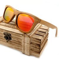 Handmade 100% Natural Bamboo Wooden Sunglasses Polarized Mirror Coating Lenses Eyewear With Gift Box - Yellow / Natural Wood - Sunglasses