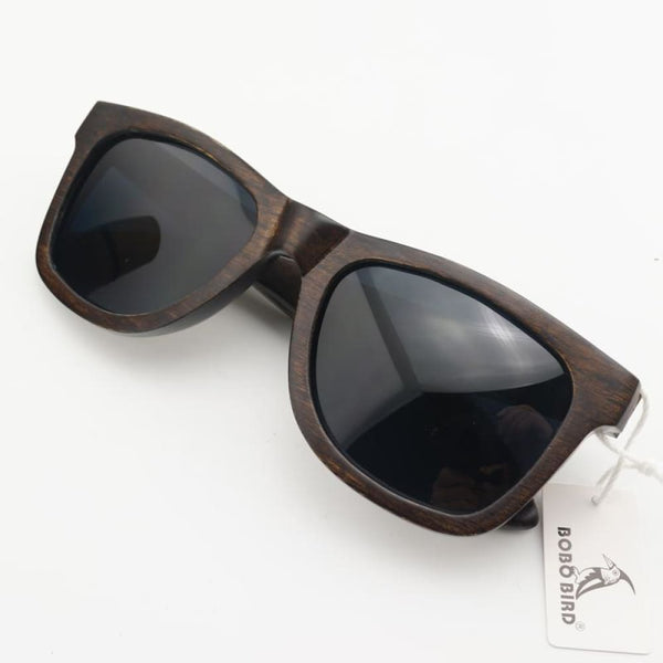 Handmade Ebony Gray Polarized Lens Vintage Fashion Wood Sunglasses - Sunglasses