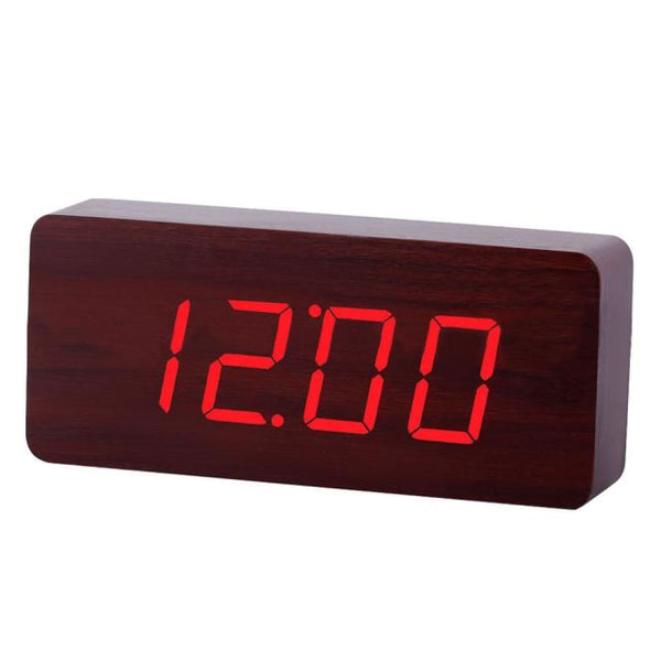 Home Decor Wooden Clock Digital LED Desktop Alarm Clock with Light - 1 - Alarm Clocks