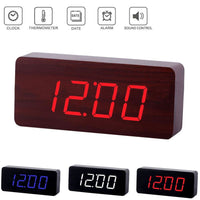 Home Decor Wooden Clock Digital LED Desktop Alarm Clock with Light - Alarm Clocks