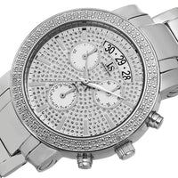 Joshua & Sons Womens Diamond Chronograph Stainless Steel Silver-Tone Watch - Watches