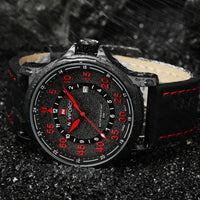 Leather Waterproof Quartz Army Military Wristwatch - Watches