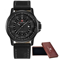 Leather Waterproof Quartz Army Military Wristwatch - gray - Watches