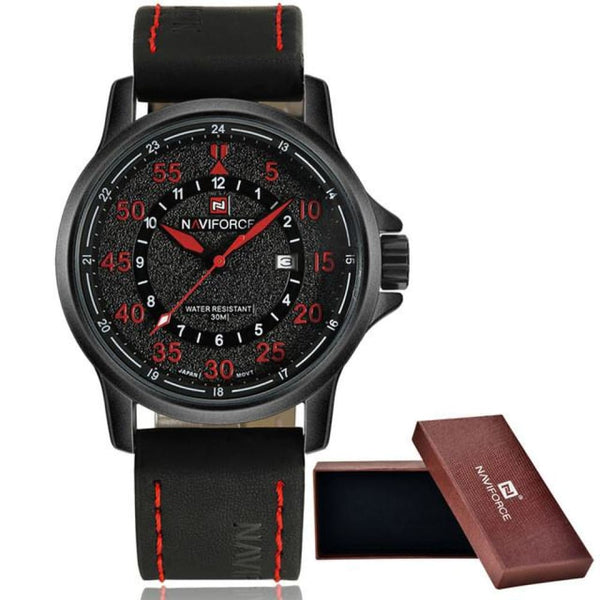 Leather Waterproof Quartz Army Military Wristwatch - red - Watches