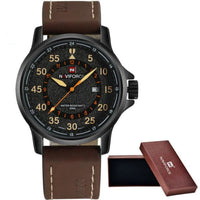 Leather Waterproof Quartz Army Military Wristwatch - yellow - Watches
