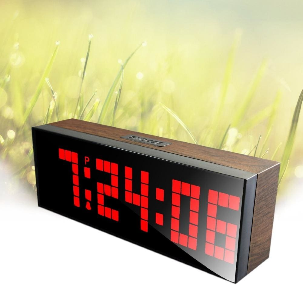 LED Wood Grain Digital Clock Large Led Digits Use For Table or Wall