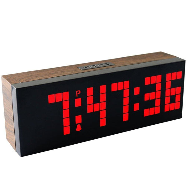 Dream Ship More - LED Wood Grain Digital Clock Large Led Digits Use