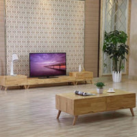 Living Room Solid Oak wood Coffee Tables+TV Stands+Living Room Cabinets Set - Bamboo Tables & Trays
