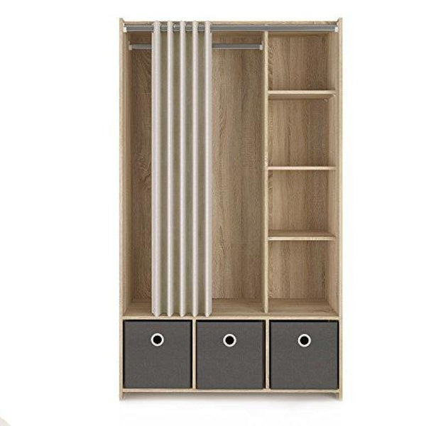 Lola 3 Bin Curtain Storage Center Oak Structure/Natural Fabric/Grey Textile - Storage Chests