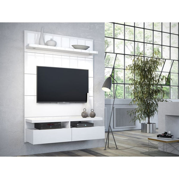 Manhattan Comfort Cabrini 1.2 Floating Wall Theater Entertainment Center - White Gloss - TV Stands & Entertainment Centers