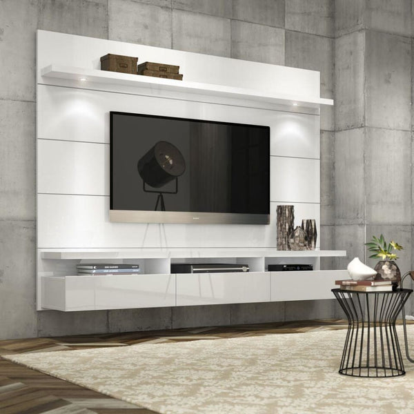 Manhattan Comfort Cabrini 2.2 Floating Wall Theater Entertainment Center - White Gloss - TV Stands & Entertainment Centers