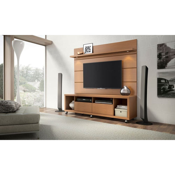 Manhattan Comfort Cabrini TV Stand and Floating Wall TV Panel 1.8 - Maple Cream and Off White - TV Stands & Entertainment Centers
