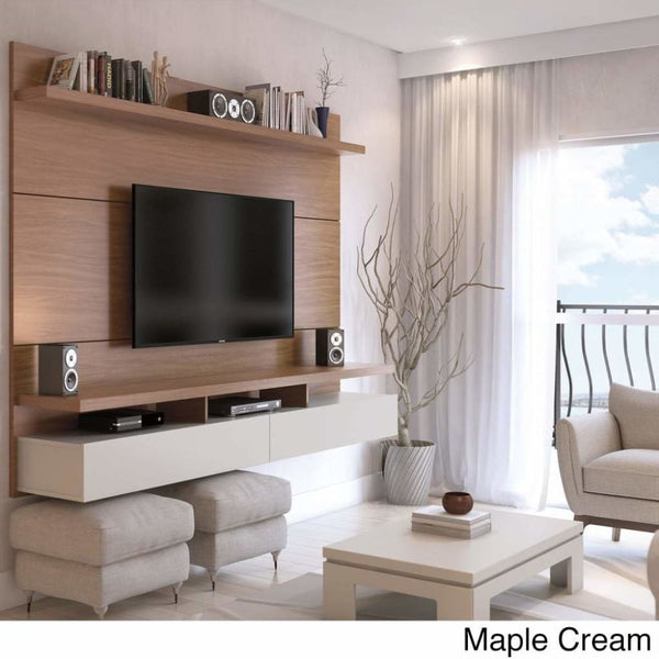Manhattan Comfort City 2.2 Floating Wall Theater Entertainment Center - MAPLE CREAM - TV Stands & Entertainment Centers