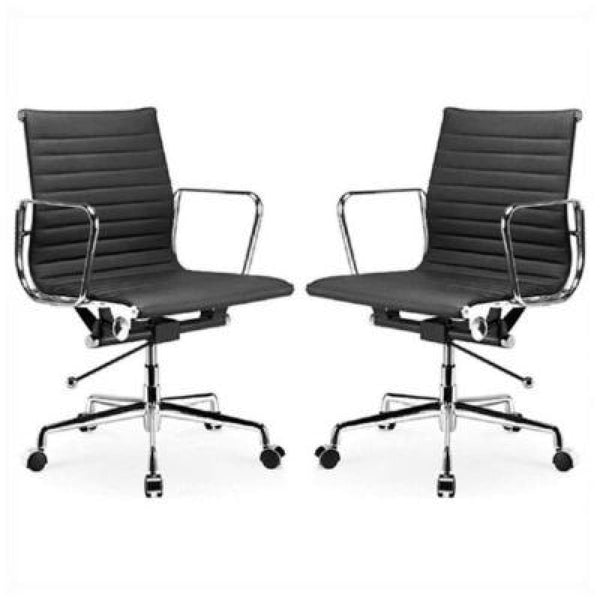 Manhattan Comfort Ellwood Mid-Back Adjustable Office Chair in Black (Set of 2) - Office Chairs