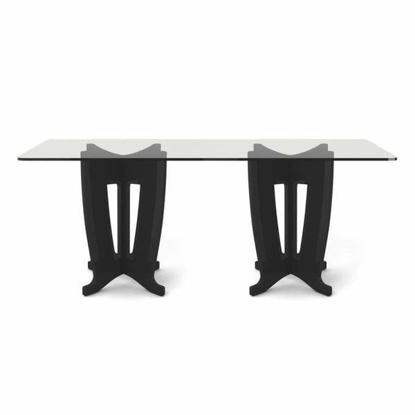 Manhattan Comfort Jane 2.0 -78.64 in Sleek Tempered Glass Table Top - BLACK - Dining Room & Kitchen Tables