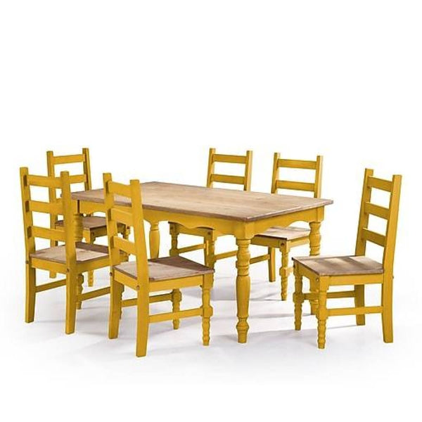 Manhattan Comfort Jay 7-Piece Solid Wood Dining Set - Natural - Dining Room & Kitchen Tables