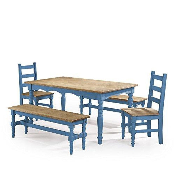 Manhattan Comfort Jay Collection Traditional Pine Wood 5 Piece Dining Set With Trim Design With 2 Benchs 2 Chairs 1 Table - Dining Room &