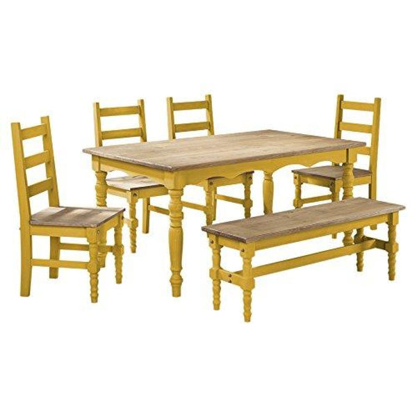 Manhattan Comfort Jay Collection Traditional Pine Wood 6 Piece Dining Set With Trim Design With 1 Bench 4 Chairs 1 Table - Dining Room &