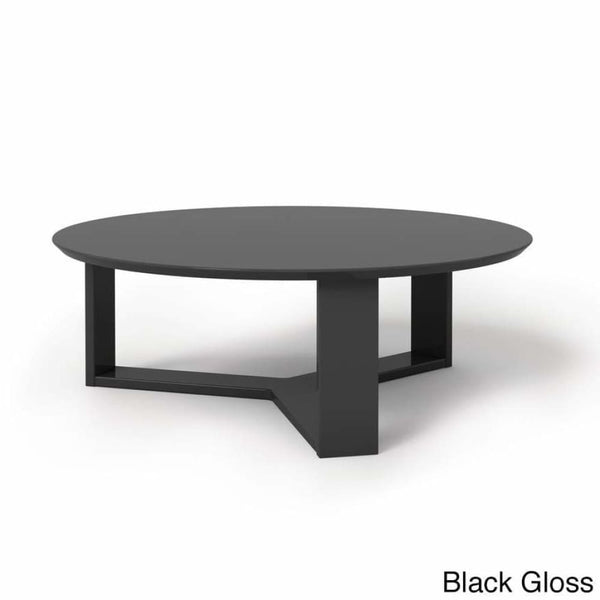 Manhattan Comfort Madison 1.0 35.78-inch Round Accent Coffee Table - BLACK GLOSS - Coffee Console Sofa & End Tables
