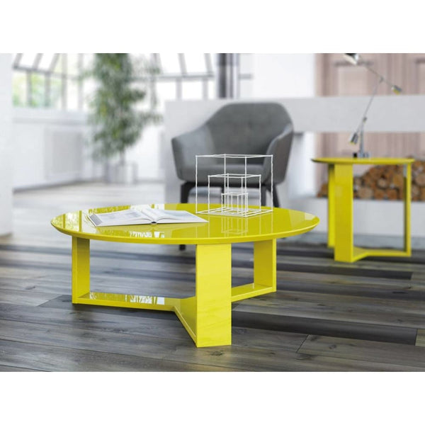Manhattan Comfort Madison 2-Piece Accent Table Living Room Set - YELLOW - Coffee Console Sofa & End Tables