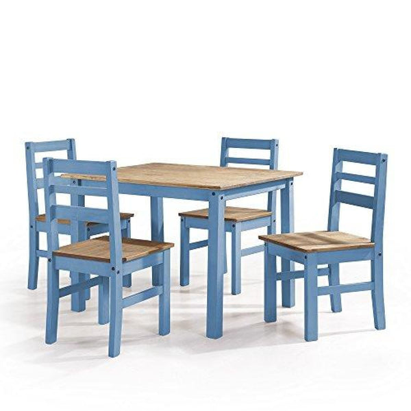 Manhattan Comfort Maiden Collection Reclaimed Traditional Modern 5 Piece  Pine Wood Dining Set, 4 Chairs and 1 Table