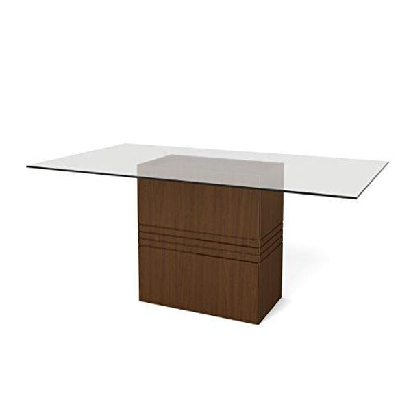 Manhattan Comfort Perry 1.6 Collection Sleek and Modern 6 Person Glass Top Rectangle Dining Table With Square Base Nut Brown - Nut Brown -