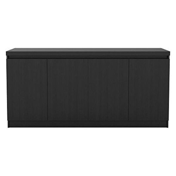 Manhattan Comfort Viennese Collection 6 Shelf Gloss Finished Long Buffet Cabinet / Dining Console with 4 Doors - Black Matte - Buffets
