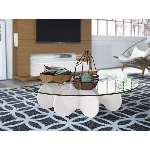 Manhattan Comfort Waverly Accent Table - Off White - Coffee Console Sofa & End Tables