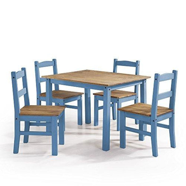 Manhattan Comfort York Collection Reclaimed and Modern 5 Piece Pine Wood Dining Set with 4 Chairs and 1 Table - Blue Wood - Dining Room &