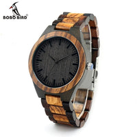 Mens Walnut Ebony Quartz Analog Wooden Watch with All Wood Strap - Watches