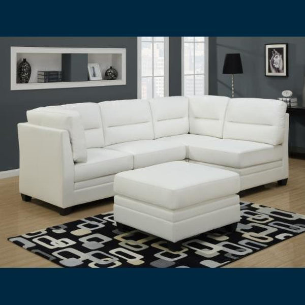 Monarch Leather Corner Unit Sofa in White Finish - Chairs Loveseats Futons Sofas Sectionals