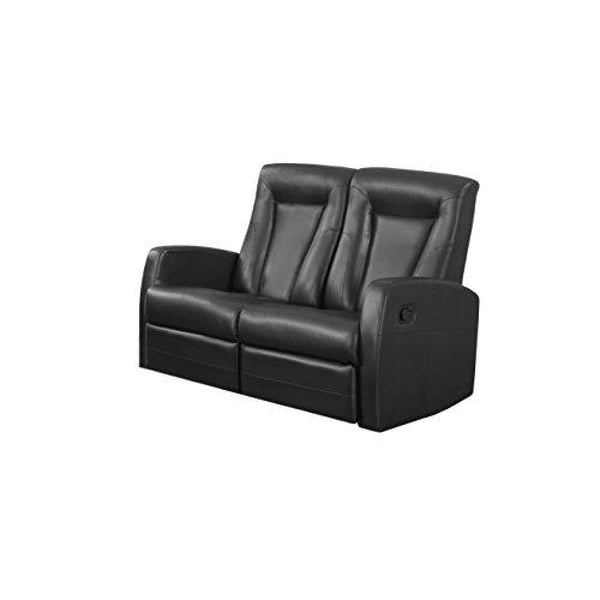 Monarch Specialties Reclining Love Seat in Black Bonded Leather - Chairs Loveseats Futons Sofas Sectionals