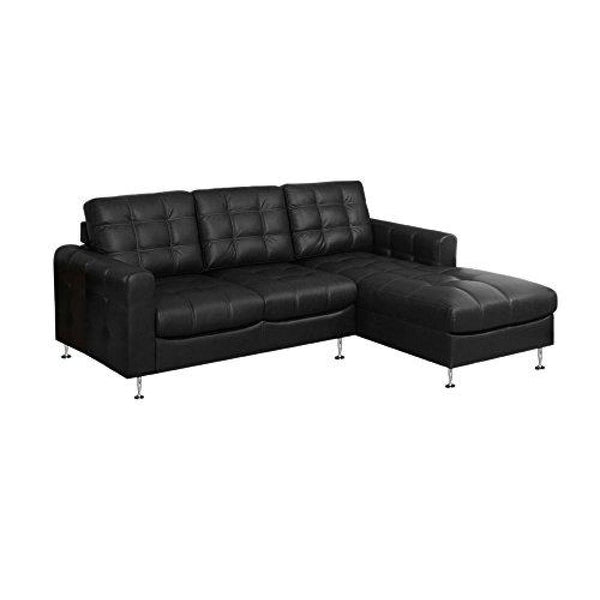 Monarch Specialties Sofa in Lounger Black Bonded Leather - Chairs Loveseats Futons Sofas Sectionals