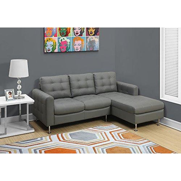 Monarch Specialties Sofa in Lounger Light Grey Bonded Leather - Chairs Loveseats Futons Sofas Sectionals