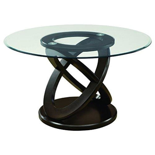 Monarch Tempered Glass Dining Table 48-Inch Diameter Dark Espresso - Dining Room & Kitchen Tables