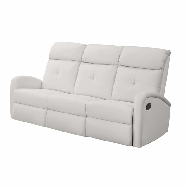 Monarch White Bonded Leather Reclining Sofa - Chairs Loveseats Futons Sofas Sectionals
