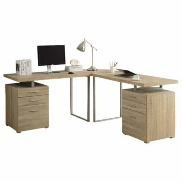 Natural Look L Shaped Corner Desk 72 Inch Wide Three Piece Particle Board Computer Desk - Desks & Computer Tables