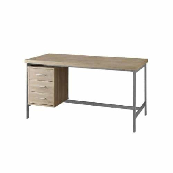Natural with Silver Metal 60 Inch Wide Particle Board Computer Desk with Drawer - Desks & Computer Tables