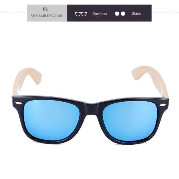 New Wood Bamboo Design Sunglasses - 01 / Natural Wood - Sunglasses
